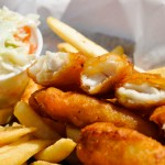 fish and chips with side of coleslaw