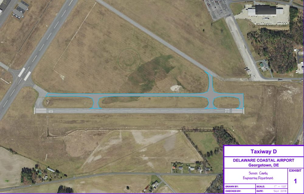 Aerial view of Taxiway D construction